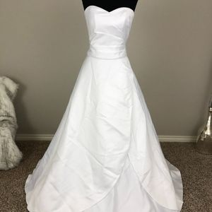 Two-Piece White Strapless Wedding Dress